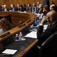 The Senate Judiciary Committee conducts business on the nomination of Supreme Court nominee Judge Brett Kavanaugh, Friday, Sept. 28, 2018 on Capitol Hill in Washington. (AP Photo/Pablo Martinez Monsivais)